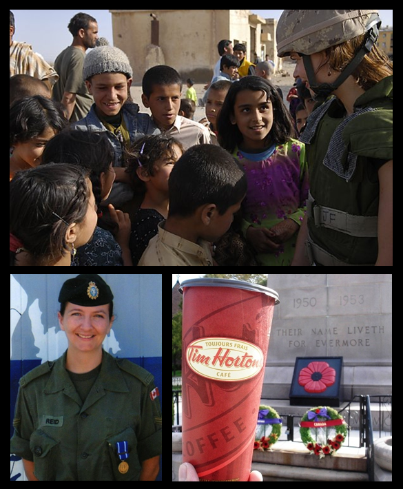 Poppies and coffee and a couple of Reid women trying to do good. Lori in Afghanistan 2008 (photo by Yannick Beauvalet) and I in Bosnia 2000 (photo by Denise Dowdy). Timmies photo by dautruong52 at www.everycup.ca.