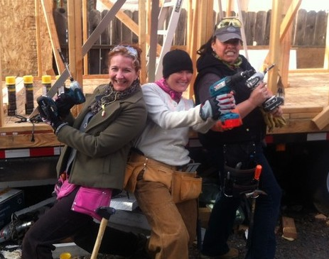 Yours Truly (aka The Canadian), BA (aka Ms. Bed Over My Head) and Nina (aka T-Homie) at the Four Lights tiny house build in Sebastopol, California, February 2013.